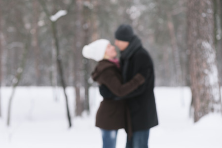 photo story: Happy couple in nature. Love story. Photo in defocusing