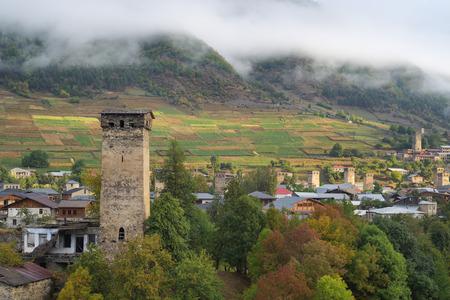 svan: Old Georgia attractions. Stone medieval towers and houses. Mountain city. Mestia City. Caucasus, Georgia, Zemo Svaneti