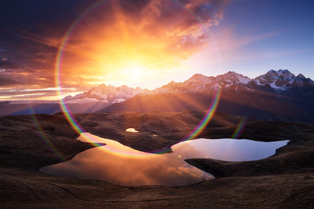 art processing: Mountain Lake. Morning landscape with a beautiful sunrise.  Art processing of photos
