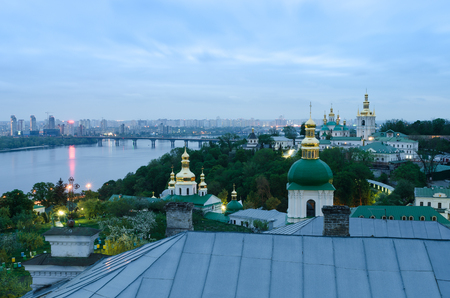 monument historical monument: Ukrainian attraction - the Kiev Pechersk Lavra. The historical heritage, an architectural monument. Christian monastery with golden domes.