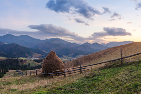 haymaking: Autumn Landscape in the mountain village. Haystack and wooden fence in the meadow. Overcast morning Stock Photo