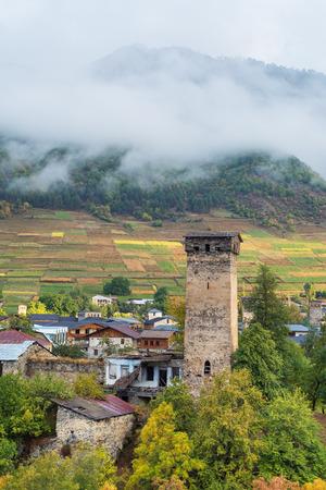 svan: Old Georgia attractions. Stone medieval towers and houses.  Mestia City. Caucasus, Georgia, Zemo Svaneti