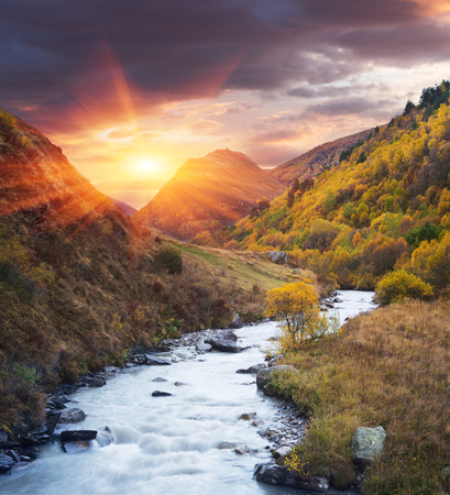 art processing: Mountain River. Evening landscape. Autumn. Community Ushguli. Inguri River. Caucasus, Georgia, Zemo Svaneti. Collage of two frames. Art processing photos