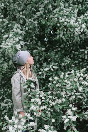 Blond girl walking in the spring garden. Flowering bird cherry. Beautiful tree with white flowers photo