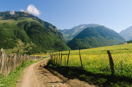 wooden fence: Summer landscape in sunny weather. The road in a mountain village. Wooden fence and green meadows. Zhabeshi, Zemo Svaneti, Georgia, Caucasus