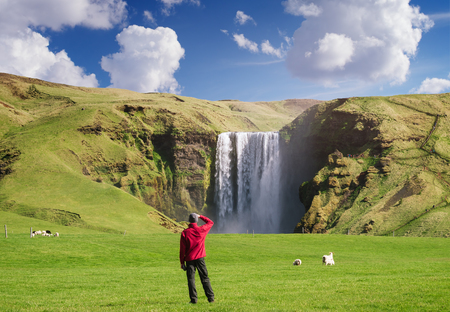Skogafoss waterfall in Iceland. Guy in red jacket looks at the huge flow of water. Famous tourist attraction. Sunny summer day Stock Photo
