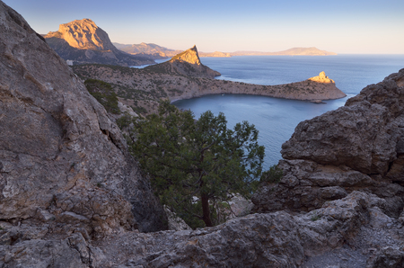 capes: Landscape with a seaside resort. View from the mountain to the sea, bays and capes. Beautiful light of the evening sun. Crimea peninsula. Ukraine, Europe