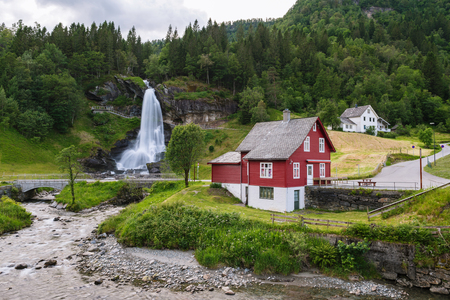 Steinsdalsfossen - one of the most popular waterfalls in Norway. Along National Tourist Route Hardanger Stock Photo