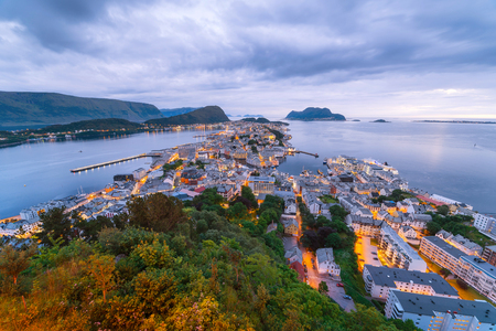 Alesund is a port and tourist city in Norway. View point on Mount Aksla Stock Photo