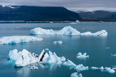 Jokulsarlon Glacial Lagoon. Place near the Vatnajokull National Park. Tourist attraction in the south of Iceland