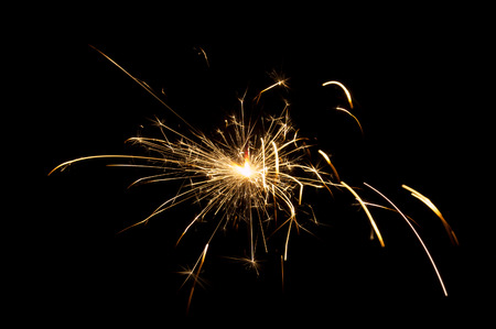 Sparkler lights on a black background Stock Photo
