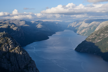 Pathway Pulpit Rock, Norway. Panorama of the Lysefjord. Sunny weather in the mountains