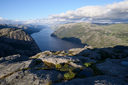 Pathway Preikestolen, Norway. Panorama of Lysefjord Banque d'images