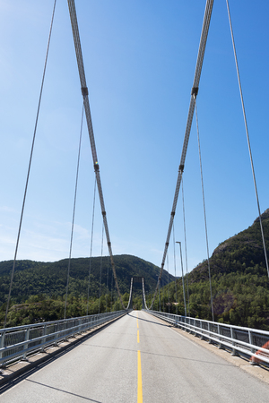 Suspension bridge in the mountains of Norway