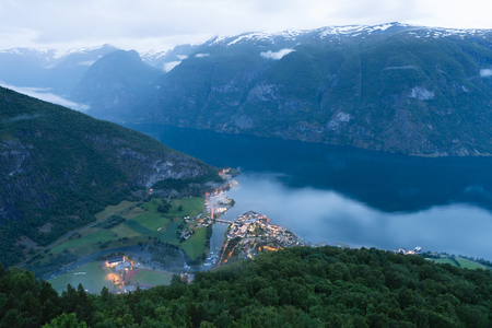 Panorama of Aurlandsfjord. Beautiful view of the fjord and mountains