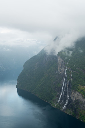 Geirangerfjord fjord and the Seven Sisters waterfall, Norway