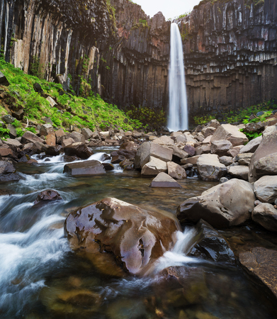 Svartifoss Waterfall. Tourist attraction in south east Iceland. Skaftafell National Park