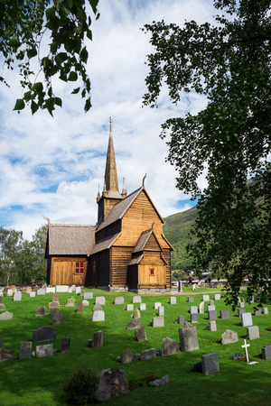 Lomskyrkja - the church in Lom. Oldest preserved timber buildings. Wonderful tourist attraction of Norway