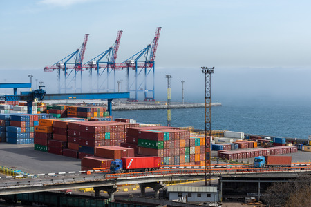 Ukraine, Odessa, April 11, 2018: containers in seaport. Large port of the Black Sea. Shipping and shipment worldwide Éditoriale