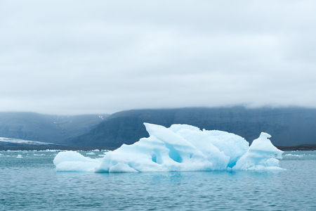 Iceland landscape. Iceberg in Jokulsarlon glacial lagoon, near the glacier Vatnajokull. Tourist attraction