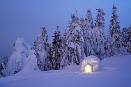 Snow igloo. Mountain hiking in the winter. Evening Landscape with shelter for extreme tourists. Adventure Outdoors Zdjęcie Seryjne