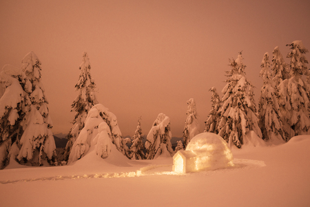 Snow igloo. Winter in mountains. Night landscape with snowdrifts after snowfall. Spruce forest
