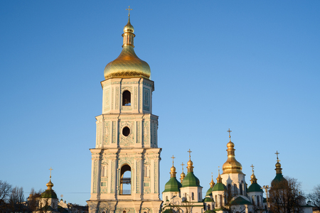 Kyiv (Kiev) is the capital of Ukraine. Bell tower of Saint Sophia's Cathedral against a clean blue sky. Sofia Square