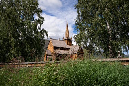 Lomskyrkja - the church in Lom. Scandinavian wooden architecture. Wonderful tourist attraction of Norway Stok Fotoğraf
