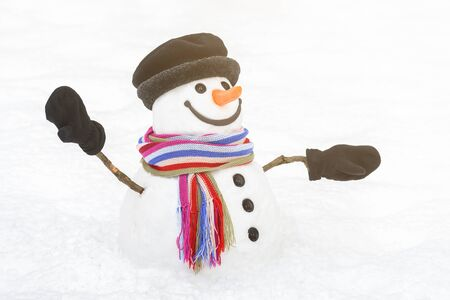 Childhood dream is a snowman. Traditional winter character with a lovely smile