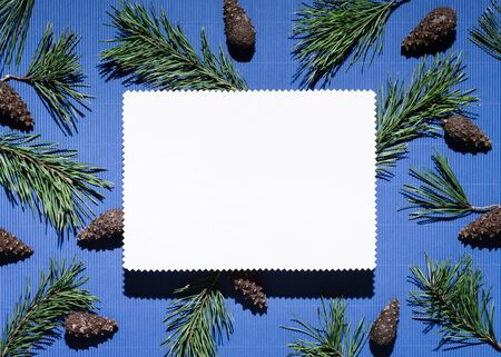 Christmas background with note paper on blue. Decor from pine branches and cones Stok Fotoğraf