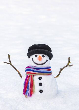 Winter card. Funny snowman with a bright striped scarf on a background of white snow Stok Fotoğraf