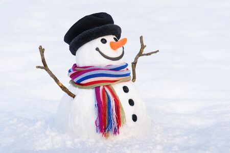 Magical Snowman with a sweet smile. Christmas card with traditional winter character Stok Fotoğraf