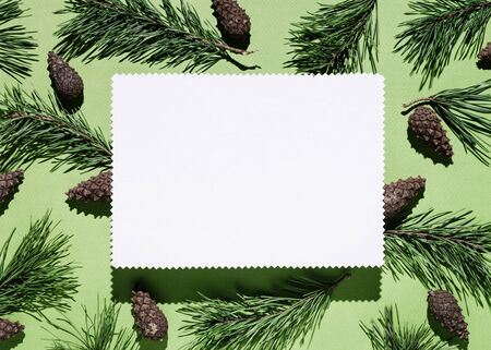 Christmas background with note paper on green. Decor from pine branches and cones