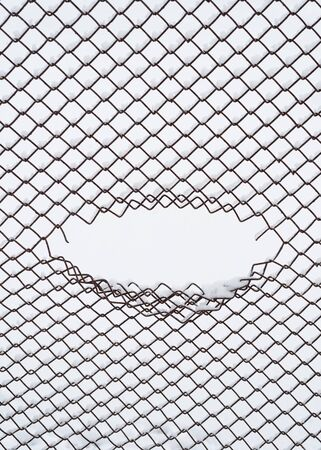 Winter background with oval frame. Abstraction in an urban environment. The hole in the mesh of the wire fence Stok Fotoğraf - 132100250