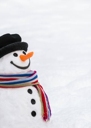 Cute snowman with a kind smile. Carrot nose, button eyes, twigs hands, snow body - a traditional winter character. Christmas and New Year card