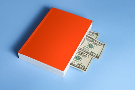 Concept. Book about financial literacy. Blank cover
