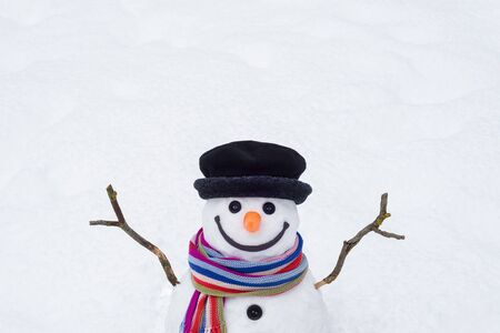Winter background with a cheerful snowman and place for text