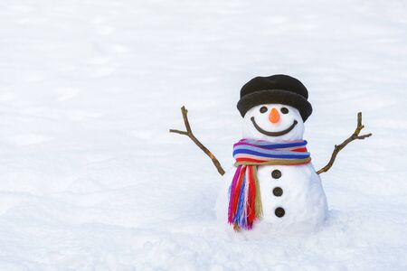 Funny winter card with a smiling snowman. Christmas scene with copy space for greeting text