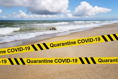 Quarantine COVID-19. Ban on visiting beaches. Challenge of the tourism sector Archivio Fotografico