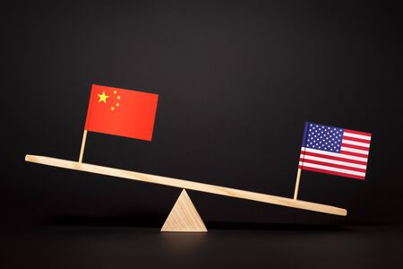 Struggle for the leadership of two world economies. Trade and economic war of the USA and China. China–United States relations Archivio Fotografico