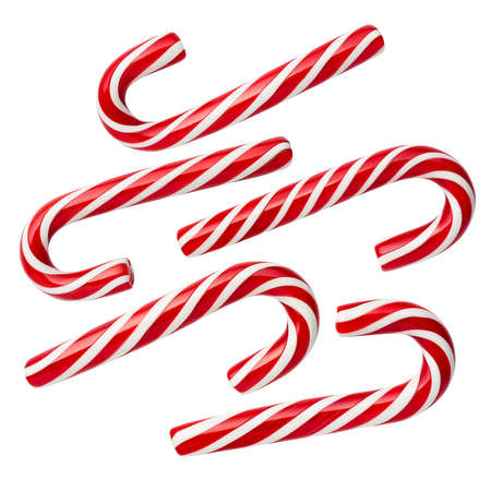 Peppermint Candy Cane - Christmas candies. Set of isolated sweets on a white background. No shadow