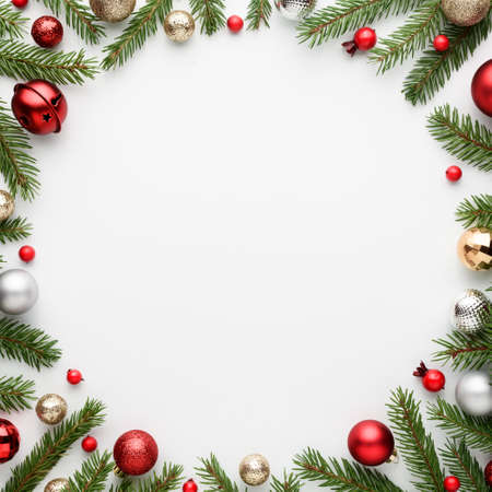 Christmas card with round frame on white background. Blank with copy space for advertising text. Top view, flat lay Archivio Fotografico - 157133566