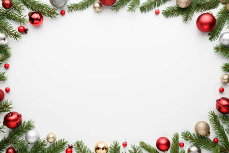 White Merry Christmas and Happy New Year background with oval frame. Blank for advertising text with copy space. Top view, flat lay Archivio Fotografico