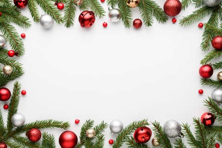 Christmas frame on white background. Top view, flat lay with copy space for text
