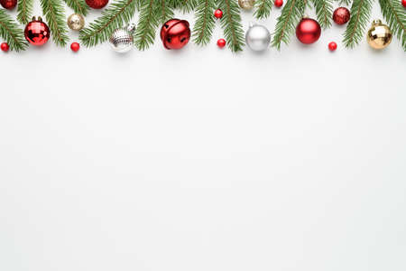 White christmas background. Top view with copy space for greetings text