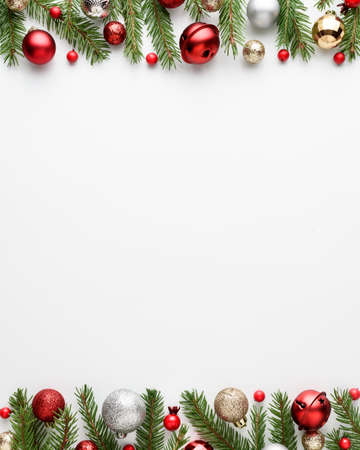 Christmas card with festive decor on white background. Copy space for message. Top view, flat lay Archivio Fotografico - 157133342