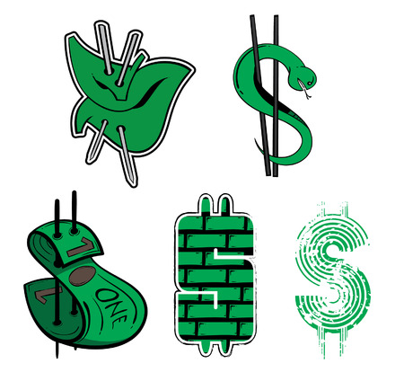 Five styles of dollar sign.