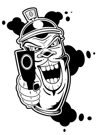 A spraycan with a gun in graffiti style. Illustration