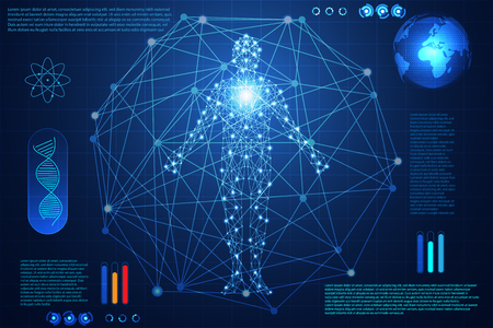 Abstract technology ui futuristic concept hud interface hologram elements of digital data chart, communication, computing, human body digital health care. Health future design on high technology background.