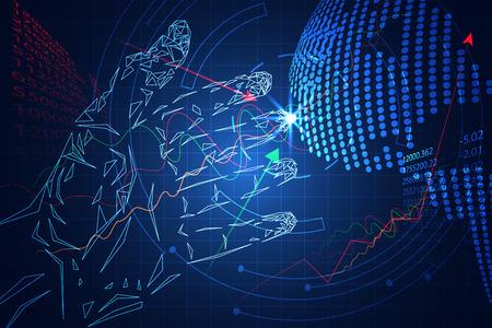 Abstrakte Technologiegeschäftsspiel-Börse bestehen, Handhochtechnologieblau. Diagrammzeile auf und ab, digitaler Kartenpunkt der Welt. Konzept Jeder wird anfangen zu investieren, erste Investition ist riskant.